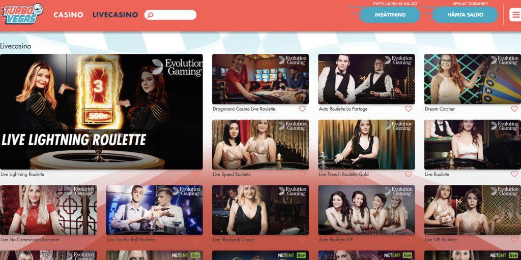 TurboVegas live casino bakgrund