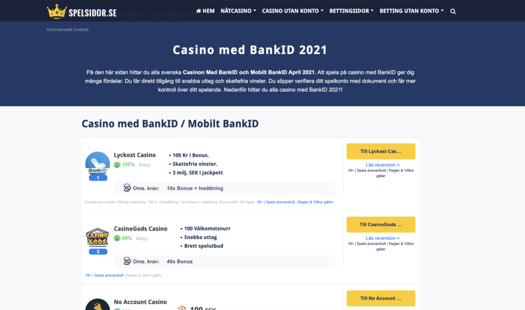 bankid casinon