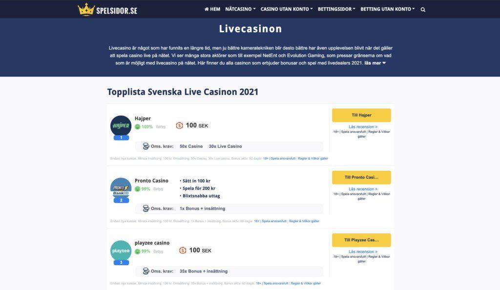 live casino 2021